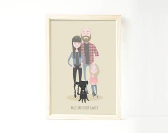 Custom family portrait illustration, personalized drawing, family illustration with pets, wedding gift, wedding portrait