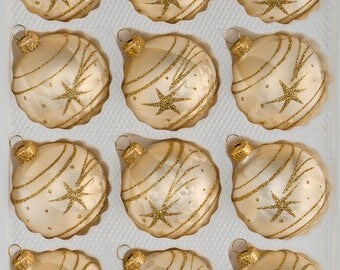 "Navidacio 12pcs Christmas Balls Ornaments Set ""Ice Champagne Gold"" Comet New"