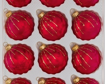 "Navidacio 12pcs Christmas Balls Ornaments Set ""Ice Red Gold"" Drops New"