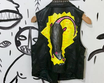 Hand painted leather jacket custom painted vest hand painted leather vest painted clothing punk vest custom painted vest