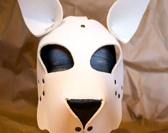 White Leather Sheppard Dog Mask Puppy Hood Petplay Fetish