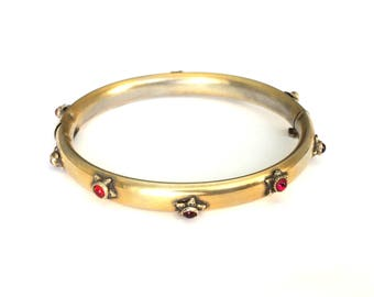 Antique Victorian 'Sandor' Gold Wash Sterling Silver Red Glass Bead Mourning Bangle Bracelet