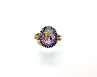 Antique Victorian 15ct Yellow Gold Amethyst & Diamond Intaglio Signet Ring Size - T/U