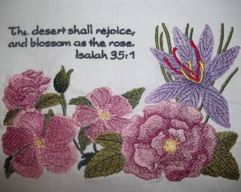 Isaiah 35:1 Scripture Citation with Floral Design Large Embroidered Quilt Block