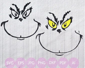 Grinch Face Svg, Eps, Png, Jpg, Dxf, Cricut, Grinch Face Printable, Grinch face Silhouette