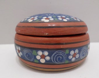 Vintage Red clay pottery bowl with lid stamped R.L. Mexico