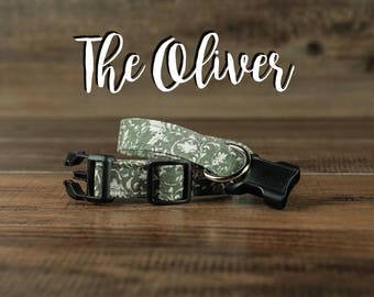 The Oliver - Fabric Dog Collar - Adjustable Collar - Custom Fabric