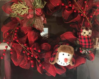 Country Christmas Plaid Wreath