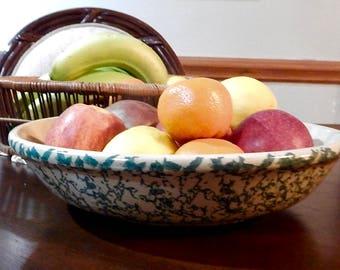 Roseville Green Spongeware Pasta/Serving Bowl