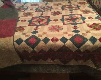 Oversized queen jewel tone or king coverlet 92x102 quilt