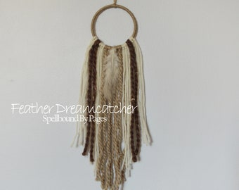 Neutral Dream Catcher, Feather Dreamcatcher, Yarn Dreamer