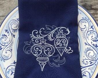 Elegant Christmas Dinner Napkins in Navy Blue & Silver