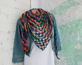 Striped crochet scarf Crochet Stripe triangle scarf Boho shawl Rainbow crochet shawl Colorful triangle shawl Triangle scarf Multicolor shawl