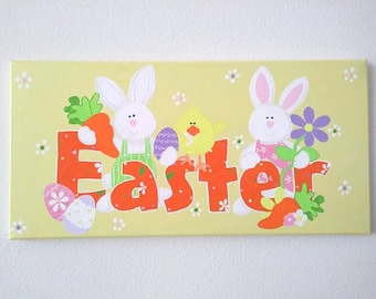 Easter Sign with Rabbits and Chicks - Acrylic on Canvas