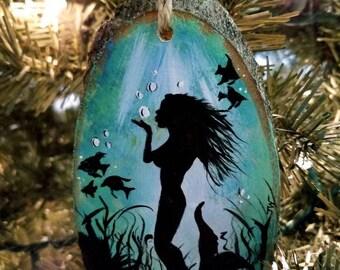 Hand Painted Mermaid Christmas Ornament!