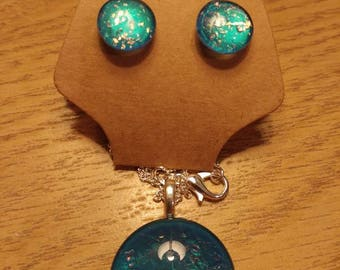 Hand painted necklace and earrings