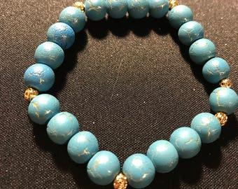 blue marble bracelet // blue and gold bracelet // beaded stretch bracelet (Winnie)