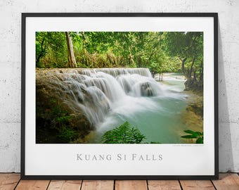 Laos Waterfall Poster, Asia Nature Photography Print, Colorful Landscape Photo, Kuang Si Falls Wall Decor, Hot Springs Waterfall Wall Art