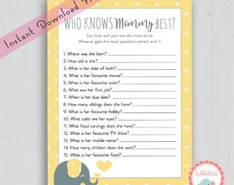 Who Knows Mommy Best   Elephant Baby Shower Games   Baby Shower Quiz    Questions Game