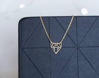 Fox Necklace   Gold Fox Necklace   Origami Fox Necklace   Geometric Necklace   Animal Necklace   Vegan   Gold Fox