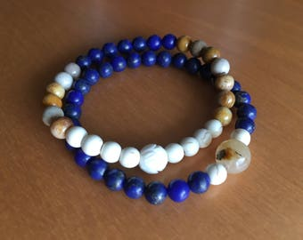 Lapis and Howlite stack