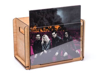 Record Crate with Album Display, portable with handle