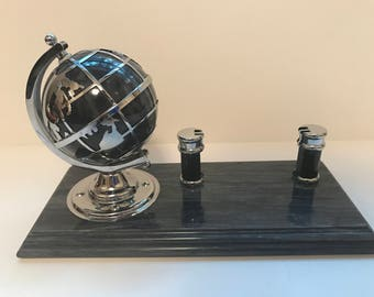 Desktop Business Card holder Granite with Rotating globe