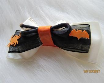 Black white orange halloween girl bow