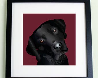 Black labrador print
