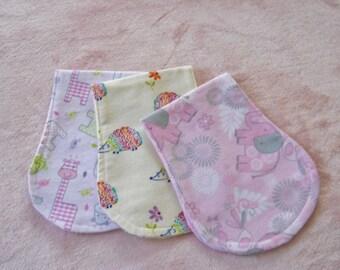 Burp Cloths, Set of 3 Baby Girl Burp Cloths, Girl Burp Cloths, Girl Baby Gift, Contoured Flannel Burp Cloths