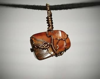 Red Tiger Eye Pendant - Wire Wrapped Jewelry - Red and Brown Vertical Tigereye Formations - Unique Handmade Necklace