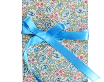 Leporello, 17 x 12 cm Accordion folder with floral meadow motif and ribbon