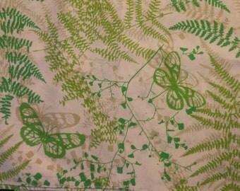 Vintage Vera Neumann Napkins, green ferns and butterflies, set of 4
