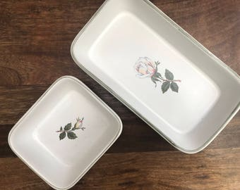 Denby Serving Dishes | Charm Rose Pattern | Set of 2 Hors d'Oeuvre Dishes | Denby Pottery | 1950's Pottery | Vintage Pottery
