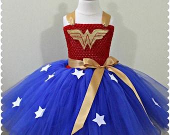 Batman/Wonder-woman/superman inspired costume, girl tutu costume, superhero tutus, dress up tutu costumes