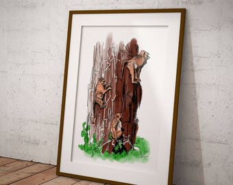 Three Little Monkeys - Printable Wall Art - Pen and Color