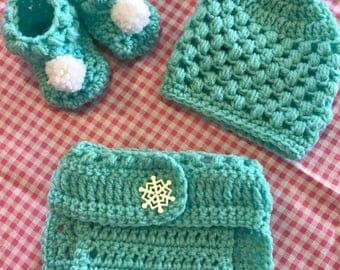 Newborn Girl Beanie , diaper cover and booties set