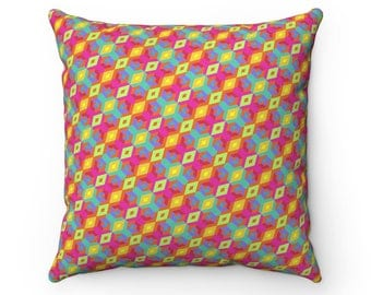 Geoeyes Pattern Pillow  Faux Suede Square Pillow