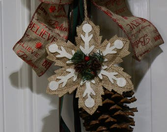 Holiday Winter Door Swag, Door Knocker, Wall Decoration, Pinecones