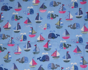 Japanese Cosmo Textile Blue Whale Fabric