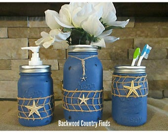 Beach Bathroom Decor, Blue Bathroom Decor, Blue Nautical Soap Jar, Star  Fish Decor