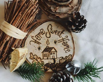 Hand Made Home Sweet Home Wooden Ornament