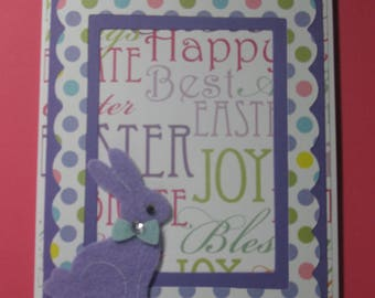 Purple Bunny Happy Easter Card