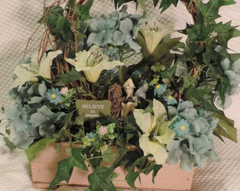 Fairy Garden Complete, Assembled in wooden box with winged fairy in a wreath of vines and Bright Floral Arrangement
