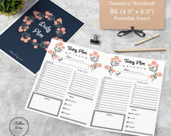 B6 Printable Insert, Timed Daily Inserts Planner, Foxy Fix No 5, Day on One Page, Printable TN Inserts, Daily Printable, Refillable Planner