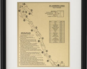 The Old Course with the Original 13 Rules of Golf Outline (Print)