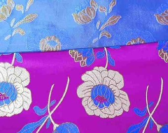 Chinese brocade satin fabric material lotus flower on azalea pink embroidered by the 0.5 YARDS, Yards Meters cbs 510