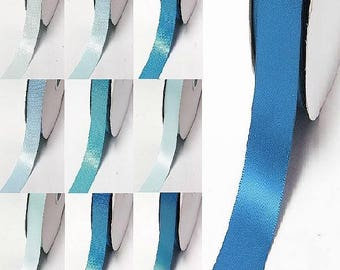 """Yama brand blue 323-331 double faced satin ribbon By the 5 or 100 Yards Top Quality Silky Ribbon 3/8"""",2/1"""",7/8"""",1"""",1.5"""",2"""",2.5"""",3"""" 28800"""