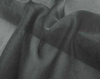 Super soft Pure Mulberry Silk Solid Very Dark Charcaol grey gray pure silk chiffon fabric material sheer # hac 40