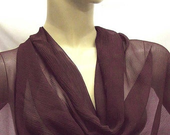 Wine 5mm Pure Silk Crinkle Chiffon Fabric dressmaking material sheer 2018-YRC-40 By the Yards or Meter